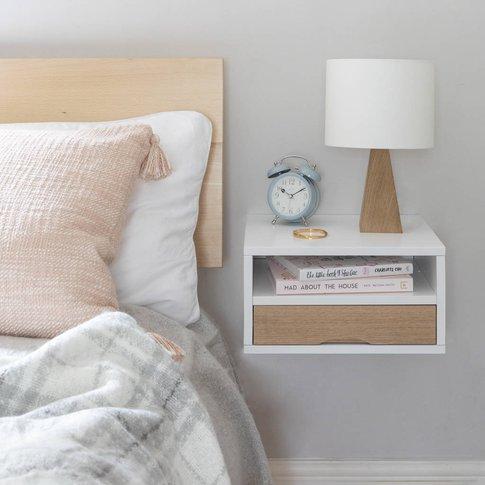 Floating Bedside Table With Oak Front Drawer