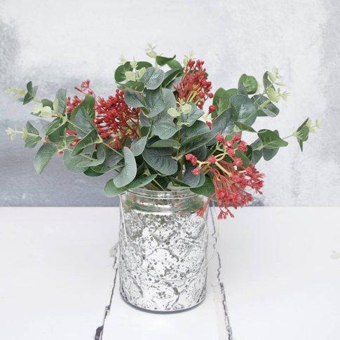 Festive Red Gypsophelia And Eucalyptus In Silver Vase