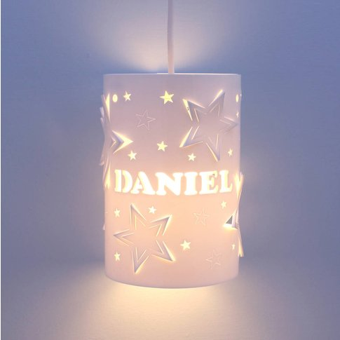 Personalised Mixed Star Ceiling Shade, White/Baby Pi...