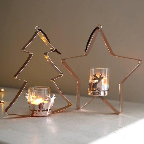 Copper Christmas Hanging Tealight Holder