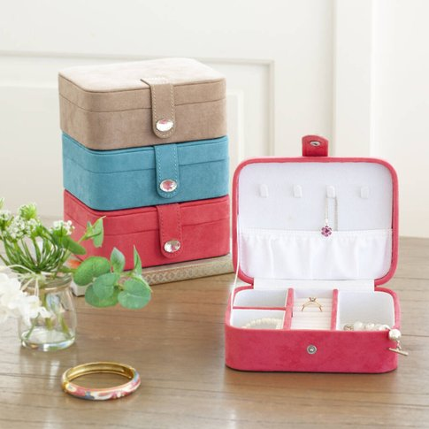 Travel Jewellery Storage Box, Peach/Pink/Turquoise Blue