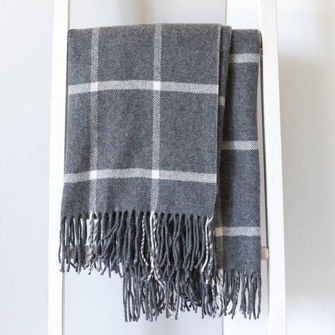 Fine Lambswool Windowpane Throws, Cream/Grey/Red