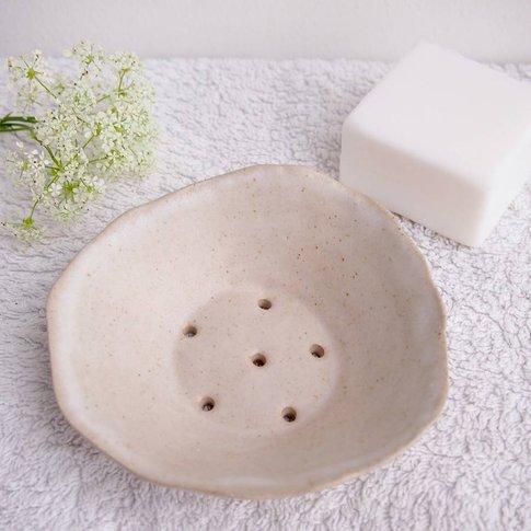 Handmade Oatmeal White Ceramic Stoneware Soap Dish