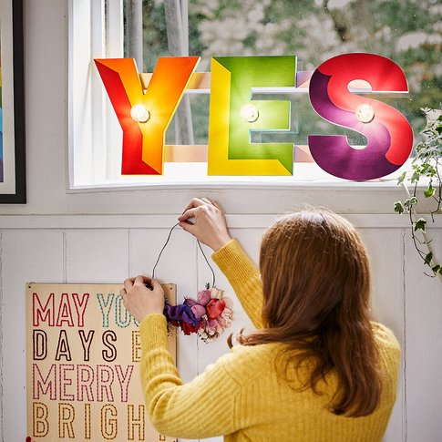 'Yes' Rainbow Sign Wall Light