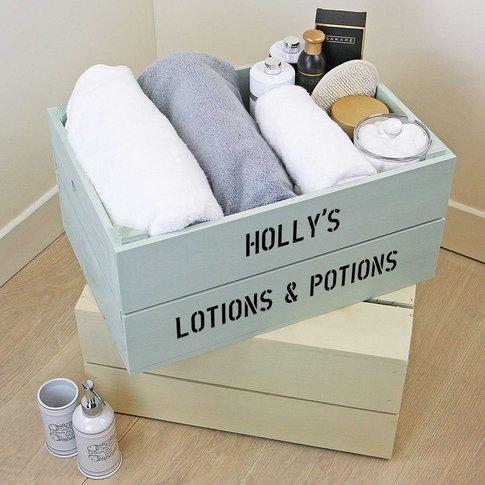Personalised Bathroom Storage Crate, Silver/Ivory/Pink
