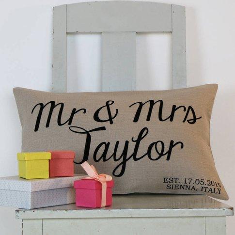 Luxurious Linen Wedding Cushion Personalised