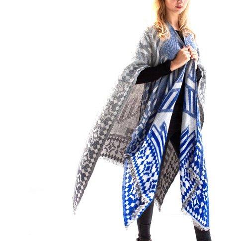 Indigo To Grey Blanket Wrap