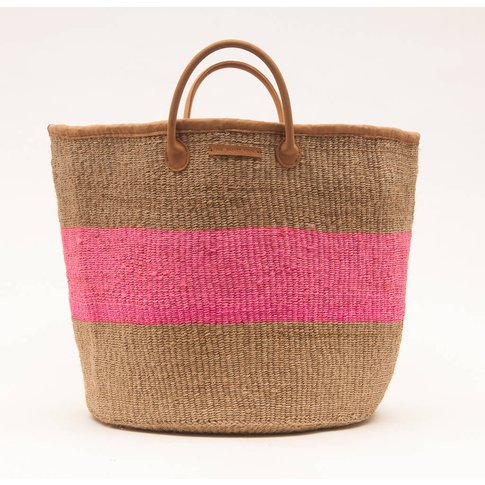 Natural, Pink Or Turquoise Stripe Woven Laundry Basket
