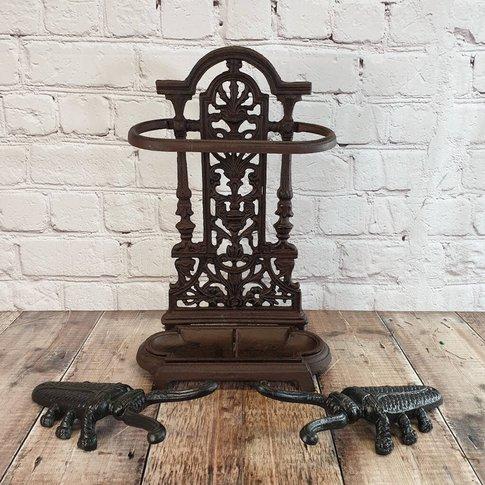 Decorative Cast Iron Umbrella Stand And Boot Jack Set