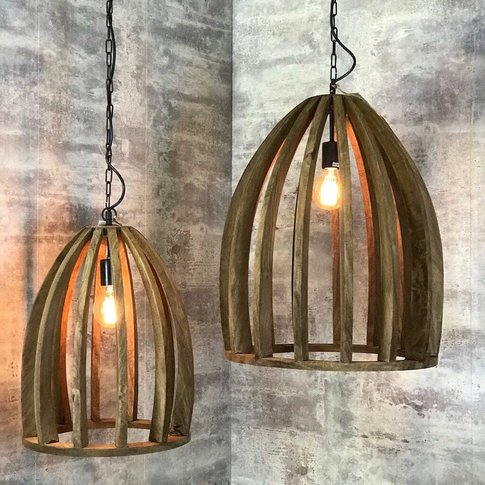 Natural Wood Hanging Slatted Pendant Lamp