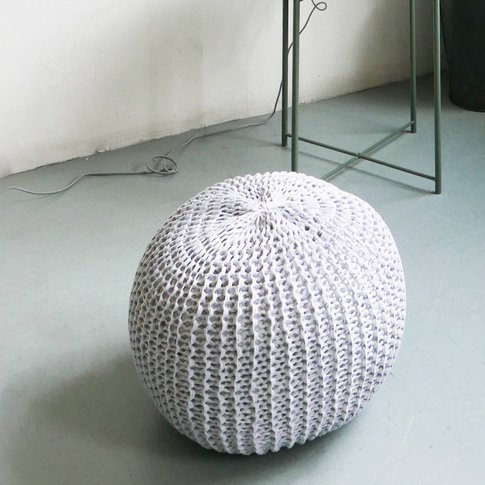 Round Hand Knitted Pearl Pouf, Grey/Cream/Black