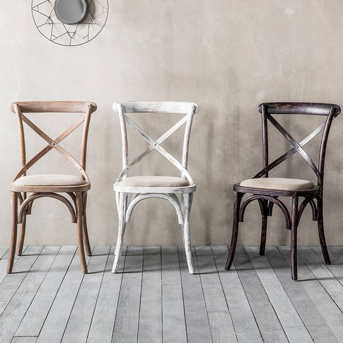 Set Of Two Oak Bistro Dining Chairs