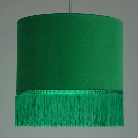 Green Velvet Lampshade With Choice Of Fringe Colours