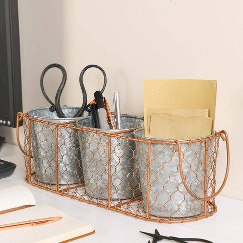Set Of Three Desk Storage Pots In Copper Basket