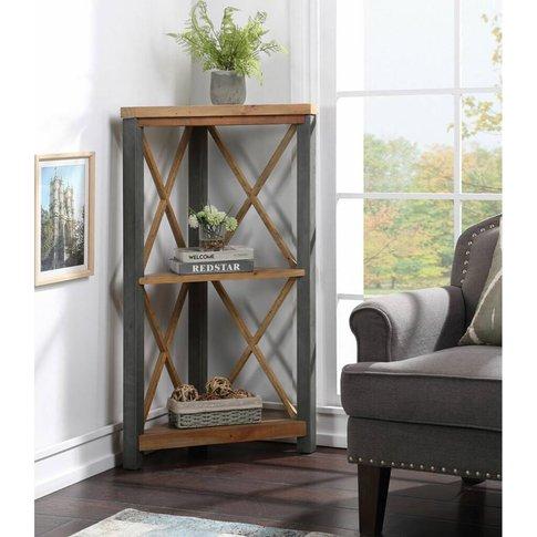 Harringay Reclaimed Wood Small Corner Bookcase