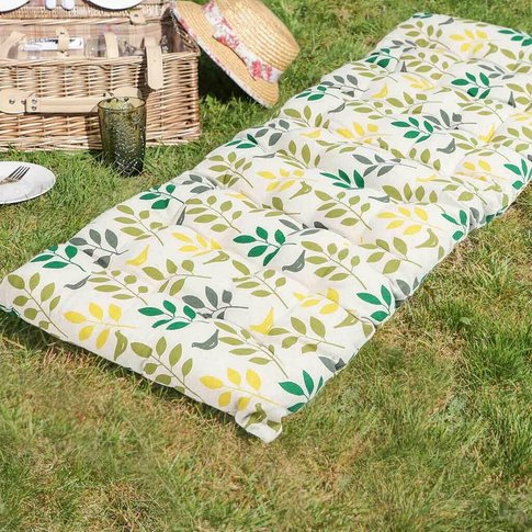 Tropical Leaves Padded Garden Bench Cushion