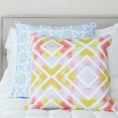 Geometric Contrast Multicolour Cushion