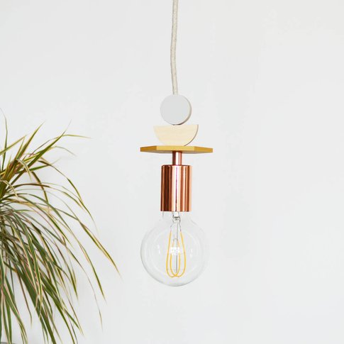 Mustard, Grey And Copper Wooden Pendant Light
