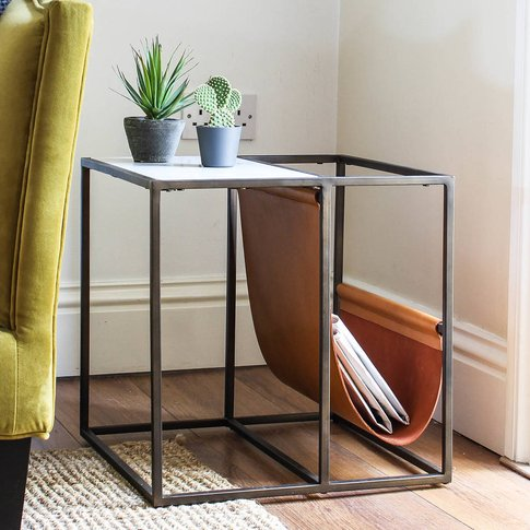 Square Marble Side Table With Leather Magazine Rack