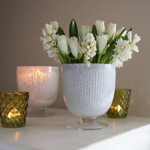 White Frosted Vase Or Candleholder