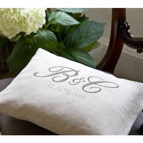 Monogrammed Cushion, Black/Grey/Silver