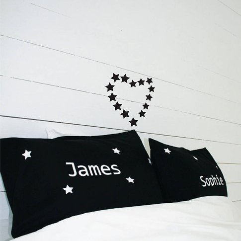 Personalised Star Pillowcases With Names, Black/White