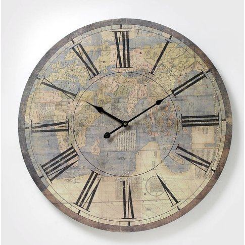 Large Antique Atlas Wall Clock