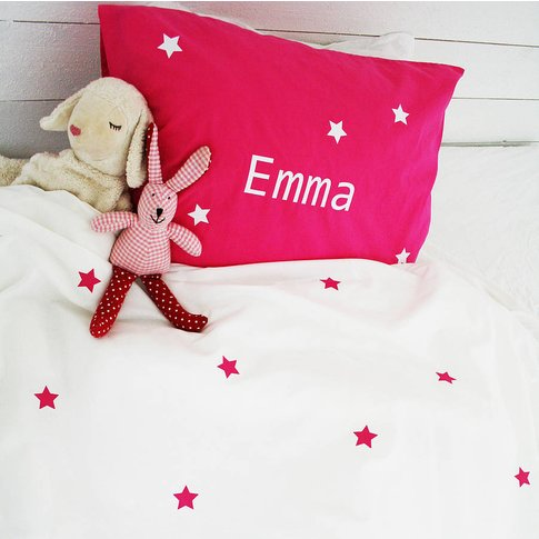 Personalised Girls Pillowcase With Name, Pink/Yellow...