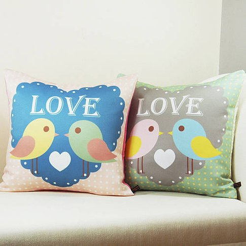 Birds In Love Cushion, Blue