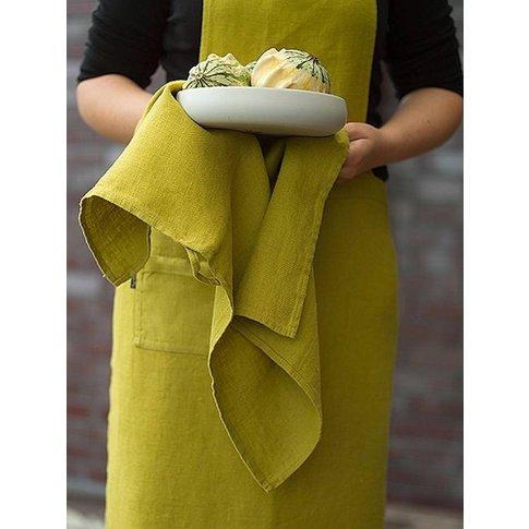 Lara Pure Linen Tea Towels Set, Aubergine/Citrine/Or...