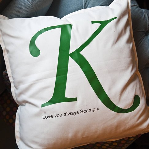 Personalised Letter Cushion, Green/Pink/Blue