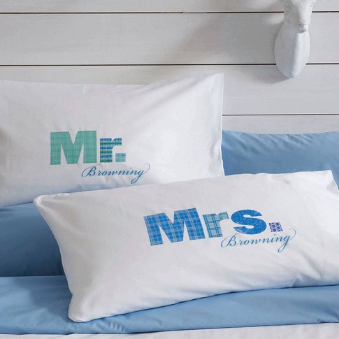 Personalised Couple Pillowcases Mr / Mrs, Aqua/Blue/Green