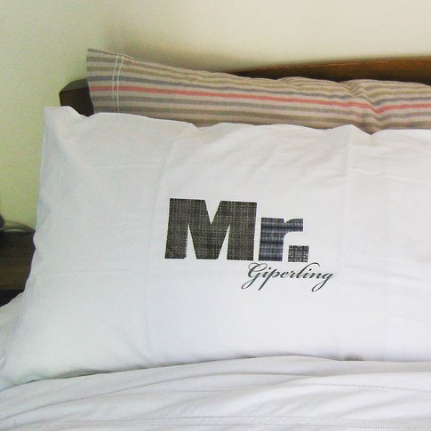 Mr And Mr Printed Pillowcase Set, Red/Orange/Black