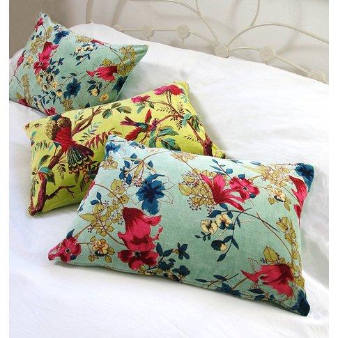 Floral Forest Cushion, Lime/Aqua