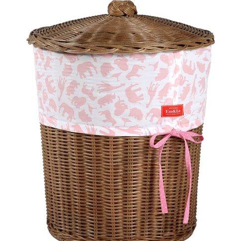 Girl's Fabric Trim Wicker Laundry Basket