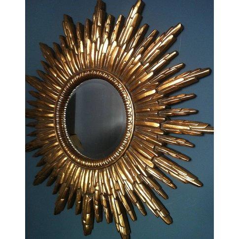 Antique Gold Sunburst Mirror, Gold