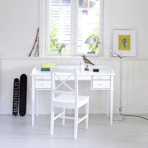 White Scandanavian Desk Or Dressing Table