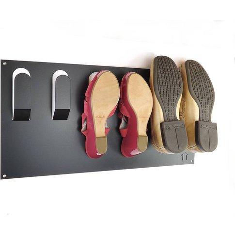 Stylish Wall Mounted Shoe Rack, Black/Silver/White
