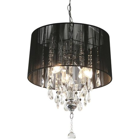 Shaded Crystal Chandelier, Silver/White