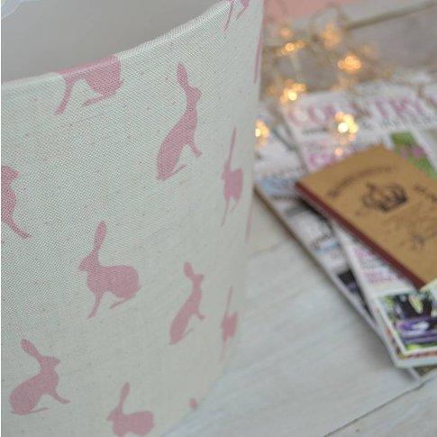 Blush Pink Hares Handmade Drum Lampshade, Pink