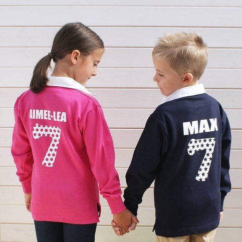 Personalised Childrens Rugby Shirt, Navy/Light Pink/...