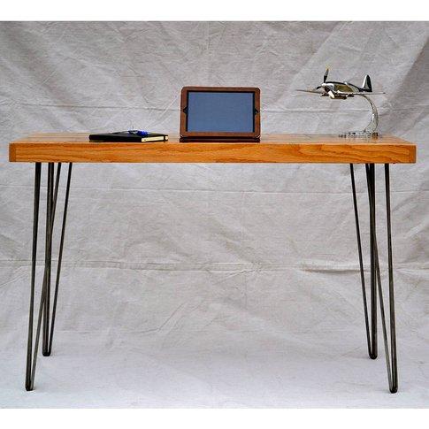 Green Inlay Oak Hairpin Desk Striking