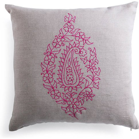 Embroidered Linen Cushion Pink, White Or Yellow, Whi...