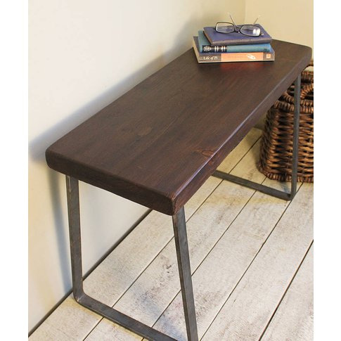 Industrial Flat Steel And Wood Bench