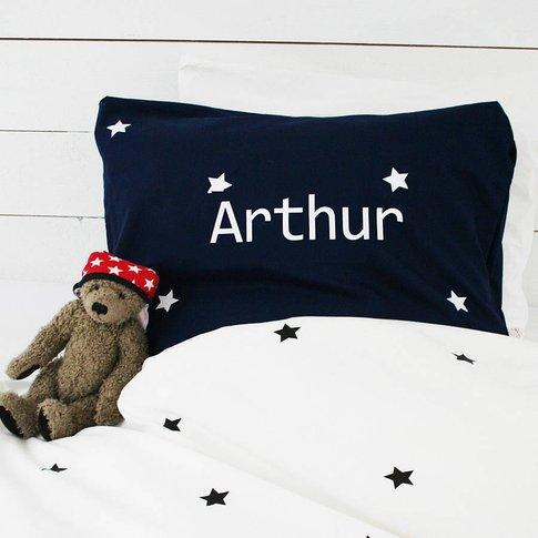 Boys Personalised Star Pillowcase With Name, Navy/Ye...