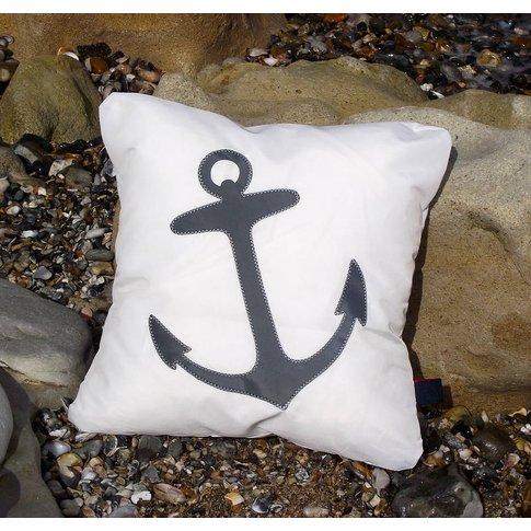 Anchor Sailcloth Cushion, Blue/Navy Blue/Navy