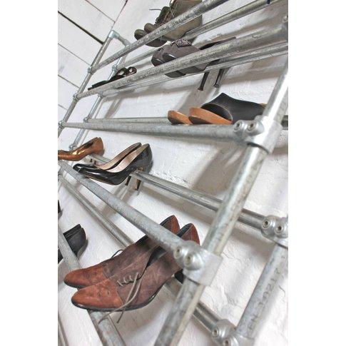 Lauren Galvanised Steel Pipe Shoe Rack