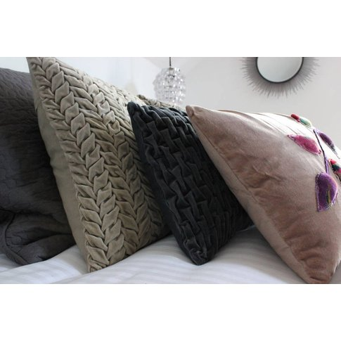 Dove And Slate Pleated Velvet Cushions, Coral/Mustard