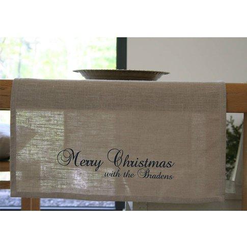 Personalised Christmas Linen Table Runner