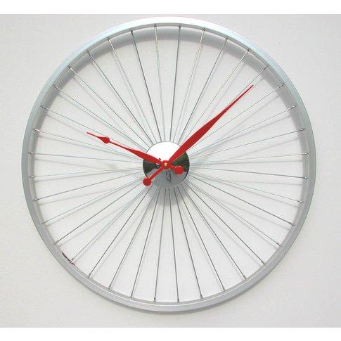 Bicycle Wheel Clock 57 Cm Red